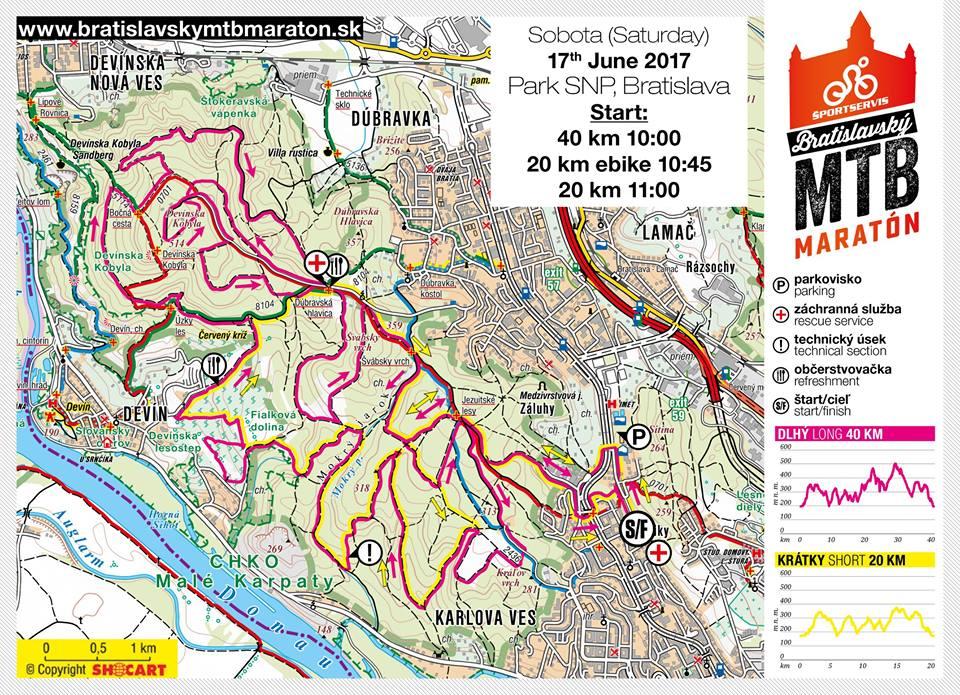 Mapa originálnych tratí Bratislavského MTB maratónu